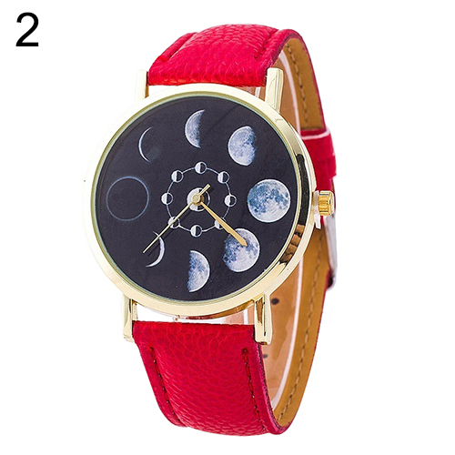 UNISEX MOON PHASE ASTRONOMY SPACE WATCH FAUX LEATHER QUARTZ WRIST WATCH TEMPTING