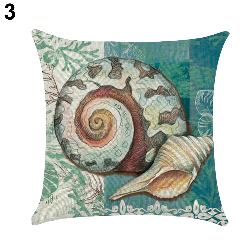 18 Inch Sea Shell Whale Turtle Throw Pillow Case Bed Sofa